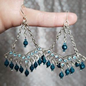 Jewelry - Turquoise silver tone jeweled chandelier earrings